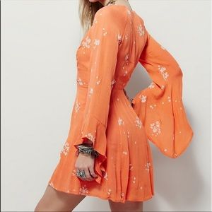 Free People Embroidered Floral Bell Sleeve Dress